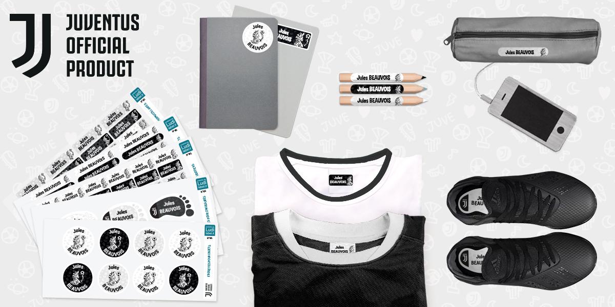 Les étiquettes vêtements aux couleurs de la Juventus Football Club