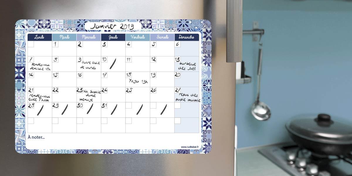 Planning mensuel effaçable