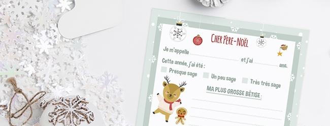 Télécharger notre modèle de lettre au Père Noël