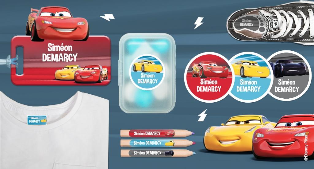 Toutes nos formats d'étiquettes à l'effigie de Cars
