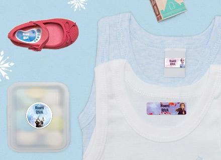Etichette Frozen per materiale scolastico, canottiere e stoviglie
