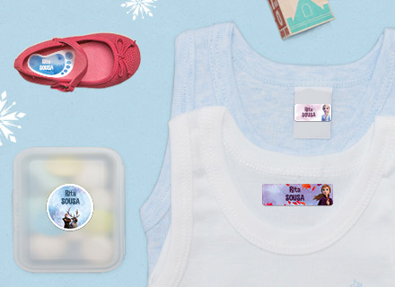 Etiquetas Raínha da Neve para marcar o material escolar