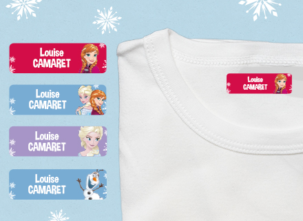 Une étiquette thermocollante Reine des Neiges sur un t-shirt