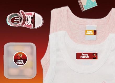 Etiquettes vêtements Indestructibles   pour marquer avec le nom à l'école maternelle