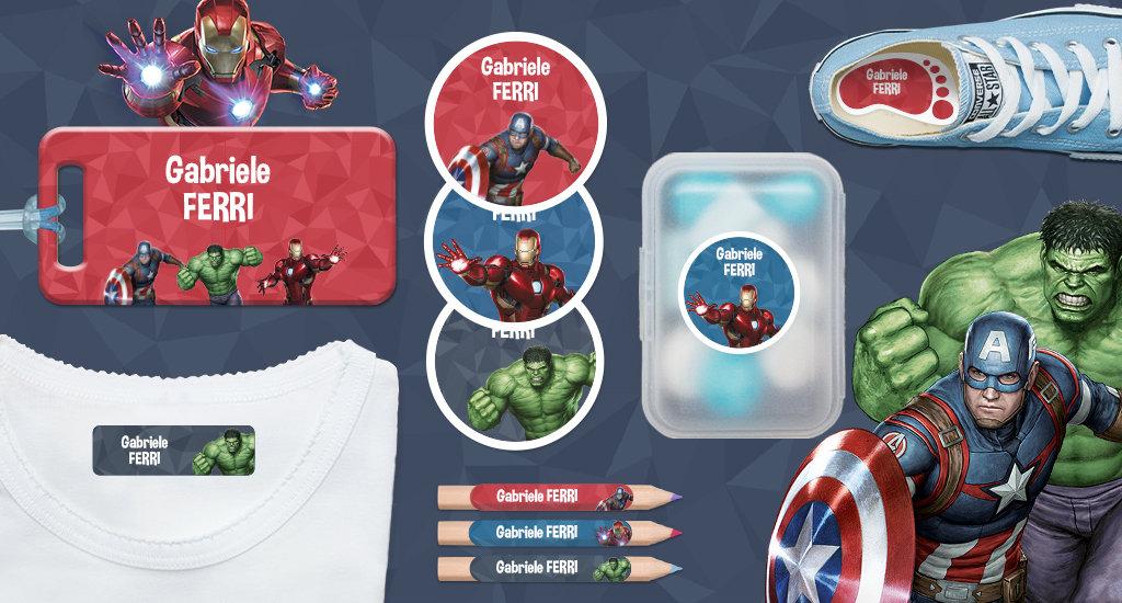 Etichette con nome dei bambini di Marvel: Avengers