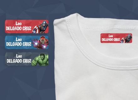 Etiquetas termoadhesivas ropa Avengers