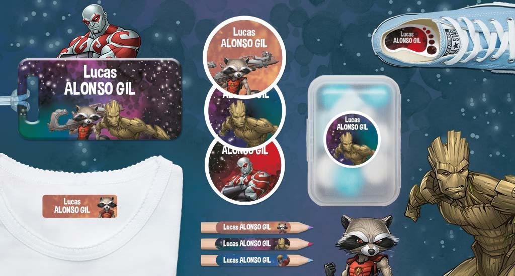 Etiquetas con nombre de los niños  Marvel : Guardianes de la Galaxia