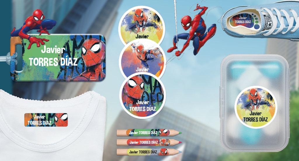Etiquetas con nombre de los niños  Marvel : Spiderman