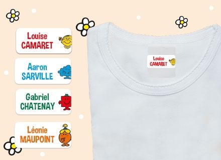 Des étiquettes des Monsieur Madame avec le nom de votre enfant sur un t-shirt
