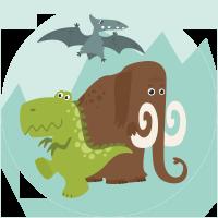 Un Mammouth et deux Dinosaures