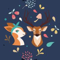 Animaux de la forêt (biche et cerf)