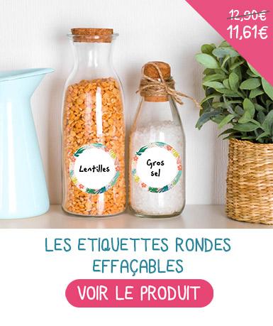 Etiquettes avec écriture au feutre effaçable pour marquer les petits pot de bébés.
