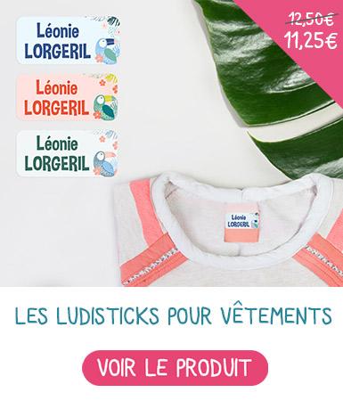 Etiquettes autocollantes nominatives pour marquer les vêtements