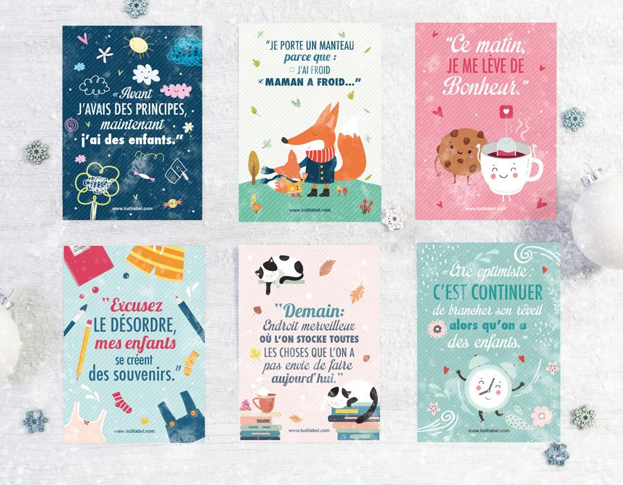Lot De 12 Cartes Postales Illustrées Citation Ludilabel