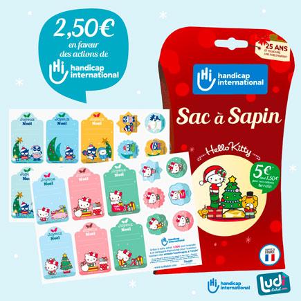 Sac à sapin et étiquettes cadeau Noël en faveur des actions d'Handicap International
