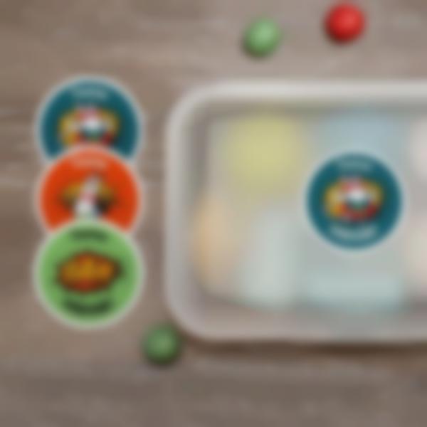 2 autocollants stickers ronds prenom etiquettes ecole objets