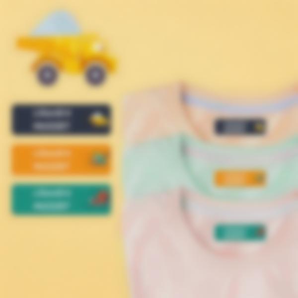 4 etiquettes vetements thermocollantes ecole maternelle travaux publics