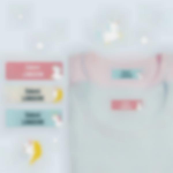 6 pack etiquettes thermocollantes marquer vetements enfants ecole licorne