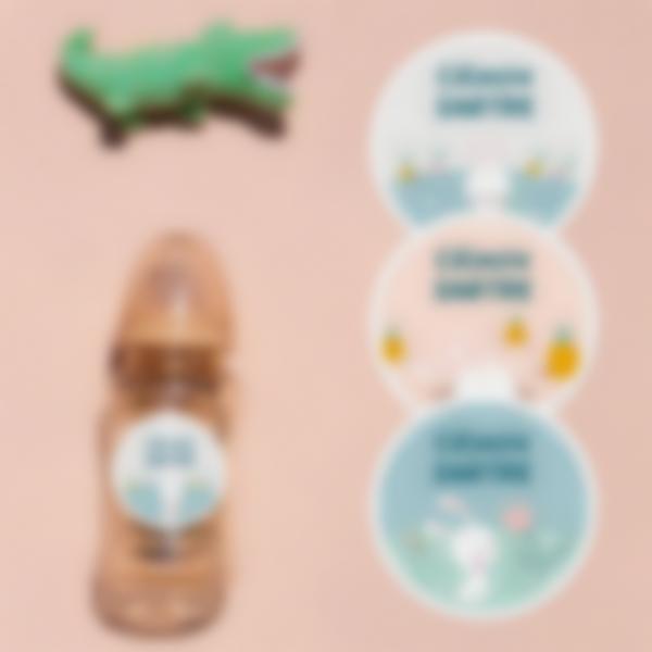 etiquettes rondes objets creche lapin