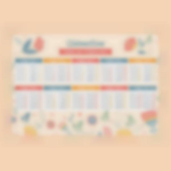 poster educatif tables de multiplication autocollants sans colle floral 1