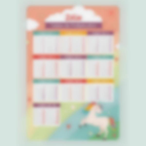 poster educatif tables de multiplication autocollants sans colle licorne 2
