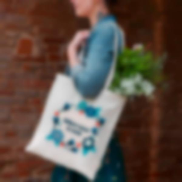 tote bage shopping bag tissu couronnes fleurs 2 3