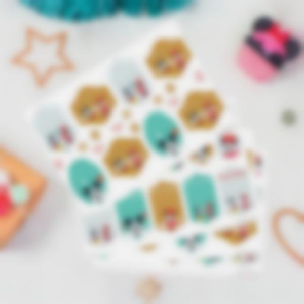 Etiquettes cadeaux de Noël - Mickey et Minnie