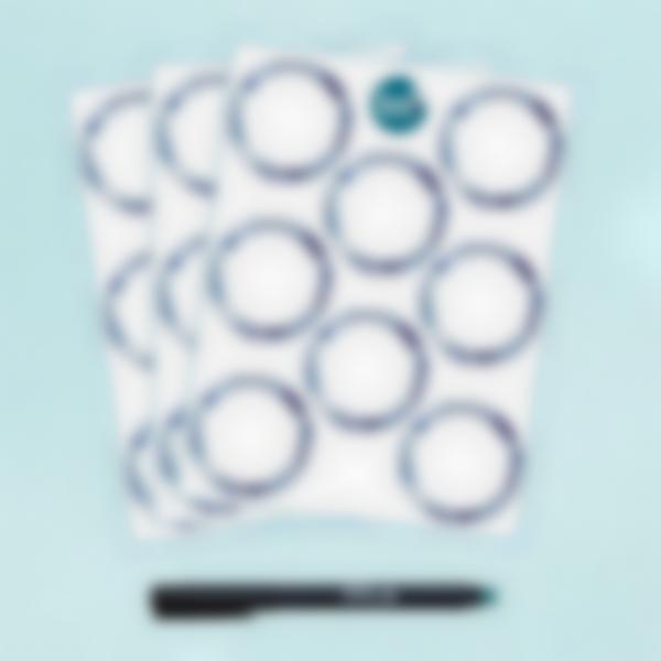 24 Étiquettes Blanches Rondes effaçables - Azulejos