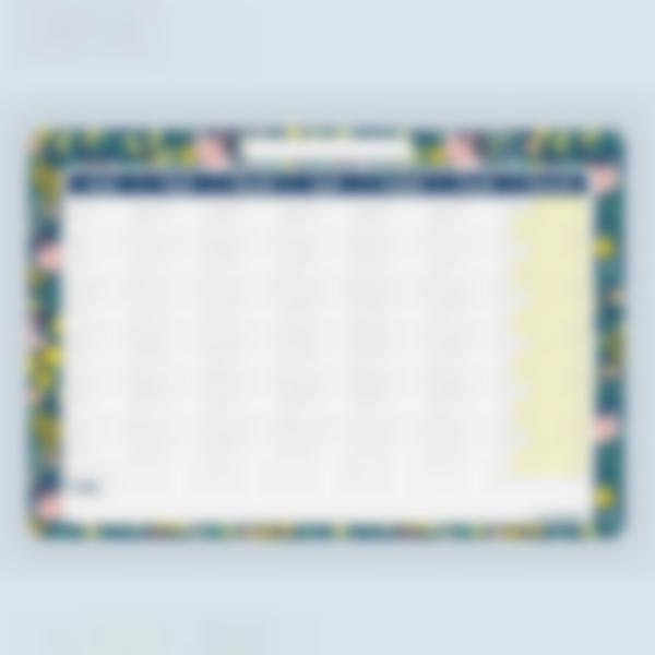 Planning mensuel effaçable - Fleurs