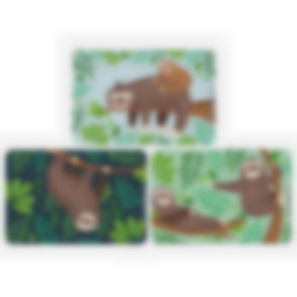 Lot de 3 cartes magnétiques pour Ludibox - boîte à goûter - Paresseux
