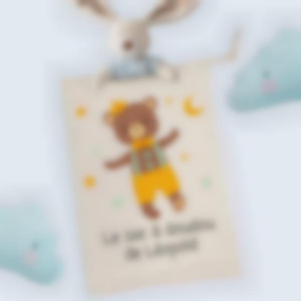 Sac de crèche illustré et personnalisé - Nounours - M