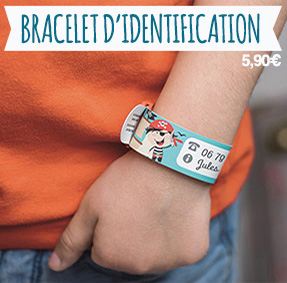 Bracelet d'identification et de sécurité pour noter les coordonnés des parents si l'enfant se perd.