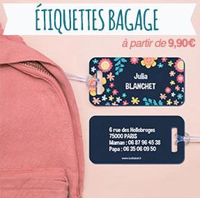 Étiquettes bagages pour identifier les valises et les sacs lors des voyages en train ou en avion.