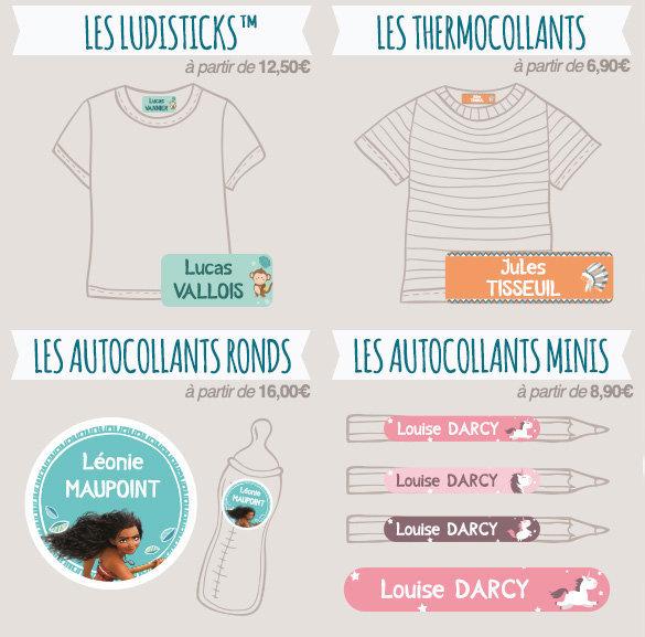Tous les formats d'étiquettes nominatives (autocollantes, thermocollantes, rondes, minis …) pour identifier vêtements et objets avec un nom.
